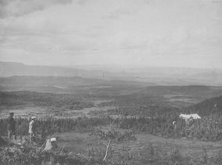[Bymarka med Skistua, sett fra Gråkallen (1896) fra Trondheim Byarkivs flickr-strøm]